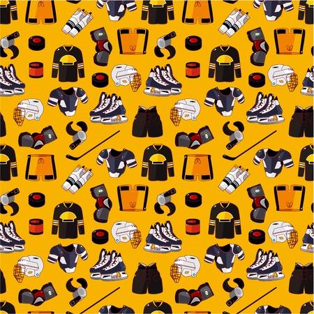 puck: cartoon hockey sport seamless pattern  Illustration