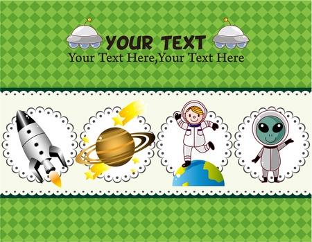 cartoon space card Stock Vector - 10588916