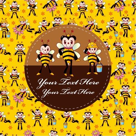 abeja caricatura: tarjeta de abeja de dibujos animados  Vectores