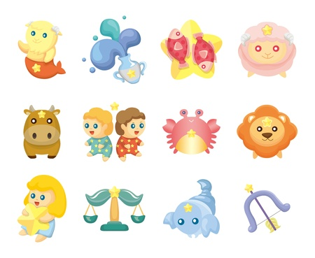 cartoon scorpion: Set of isolated cute zodiac symbols