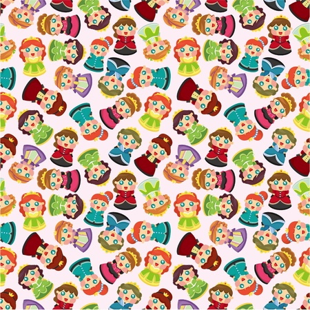 cartoon beautiful princess seamless pattern Vector
