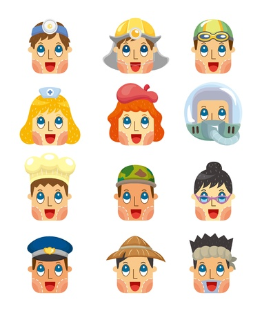 cartoon people job face icons set Vector