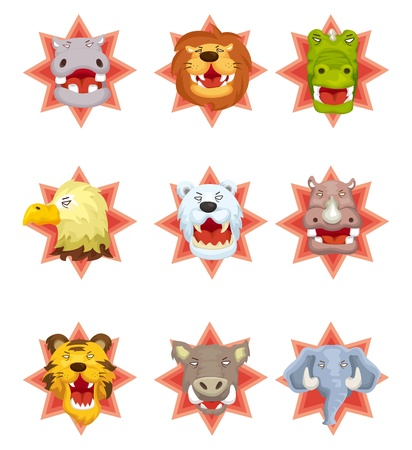 cartoon angry animal head icons Vector