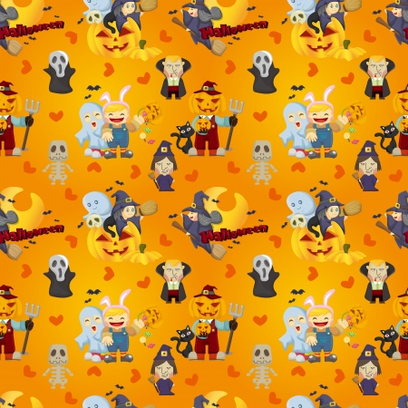 cartoon Halloween seamless pattern  Vector