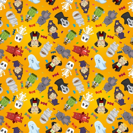 pattern monster: Cartoon Halloween holiday monster seamless pattern