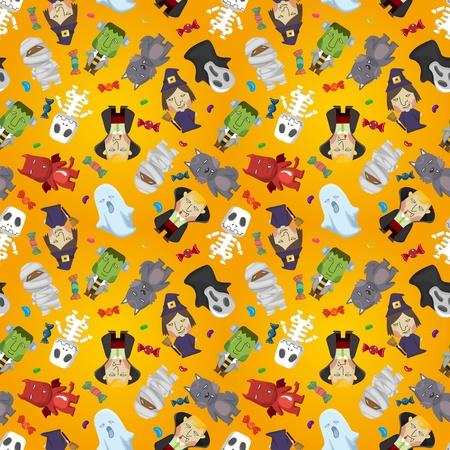 cartoon frankenstein: Cartoon Halloween holiday monster seamless pattern