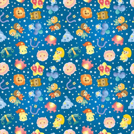 cute zodiac symbols seamless pattern Vector