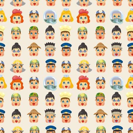 cartoon people job face seamless pattern 일러스트