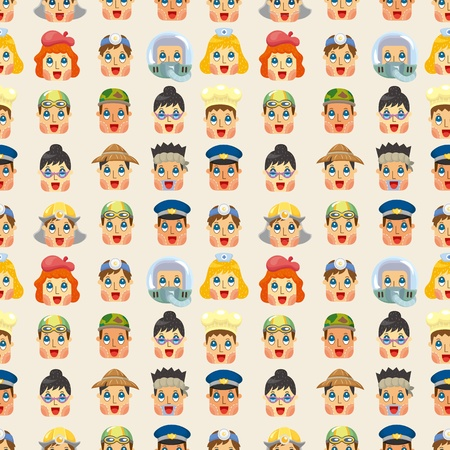 cartoon people job face seamless pattern Vector