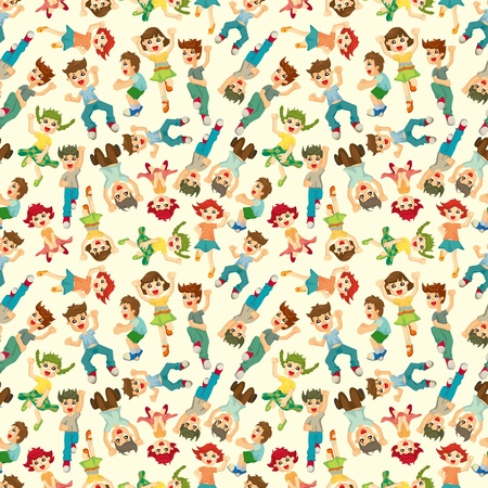 cheer up: cartoon child jump seamless pattern