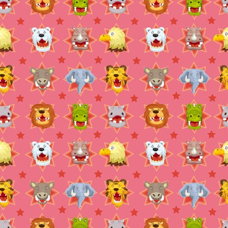 cartoon angry animal face seamless pattern Vector