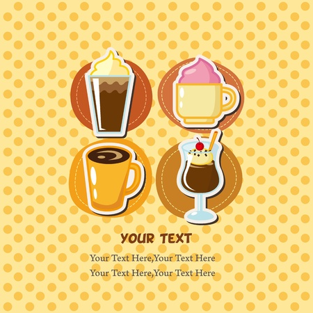 cartoon coffee card  Vector