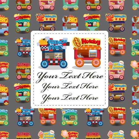 algodon de azucar: Tarjeta de coche dibujo animado mercado Vectores