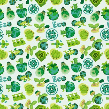 seamless eco icon pattern  Illustration
