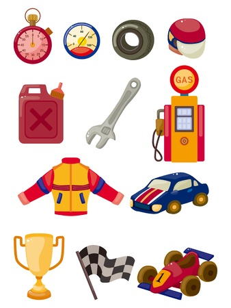 cilp: cartoon f1 car racing icon set  Illustration