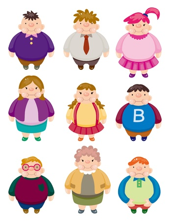 overeating: Cartoon Fat people icons