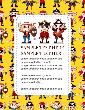 cartoon pirate card Stock Vector - 10695185