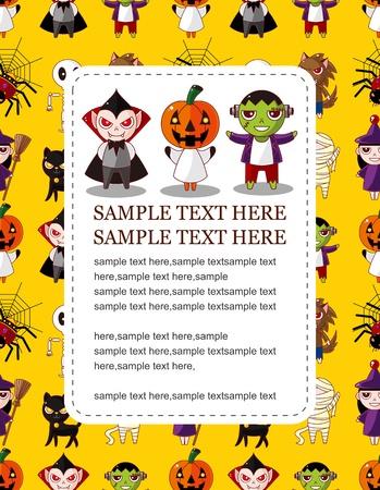 citrouille halloween: Carte de Halloween de dessin anim�  Illustration