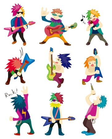Cartoon Heavy Metal rock music band  Vector