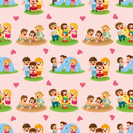 happy couple beach: cartoon family seamless pattern