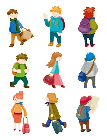 group travel: cartoon travel people icons set
