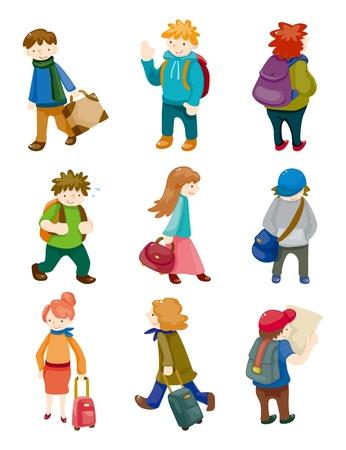 hi hat: cartoon travel people icons set