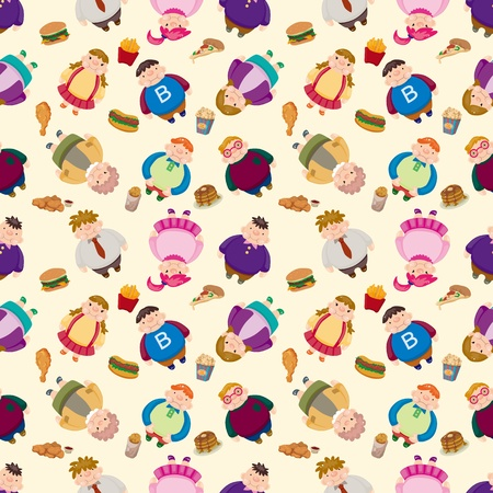 waist weight: Cartoon Fat people seamless pattern