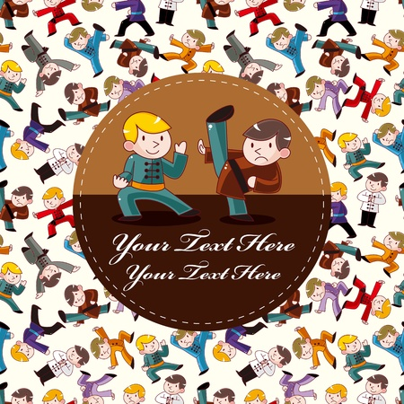 chi: de dibujos animados Kung Fu chino tarjeta