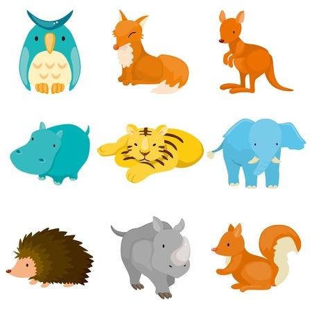 animales del zoo: dibujos animados iconos de animales de zoológico Vectores