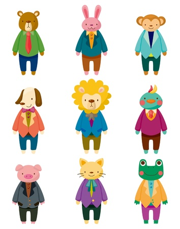 cartoon animal office worker icons Vector