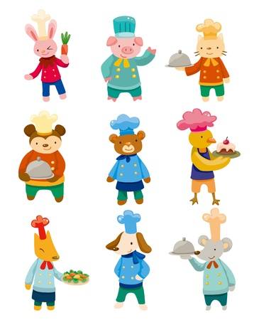 cartoon animal chef icons Vector