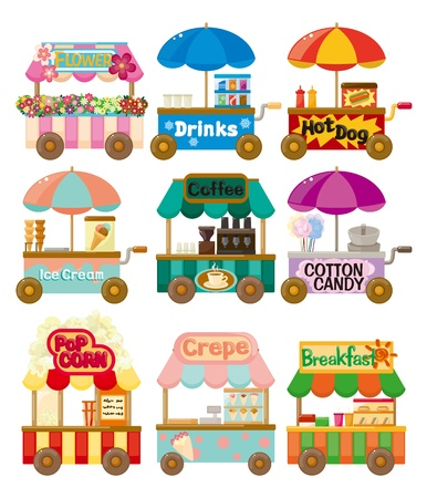 vendors: Cartoon market store car icon collection  Illustration