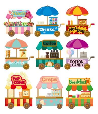 autom�vil caricatura: Colecci�n de iconos de dibujo animado mercado tienda coche