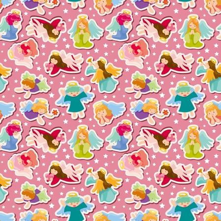 angel cartoon: seamless angel pattern