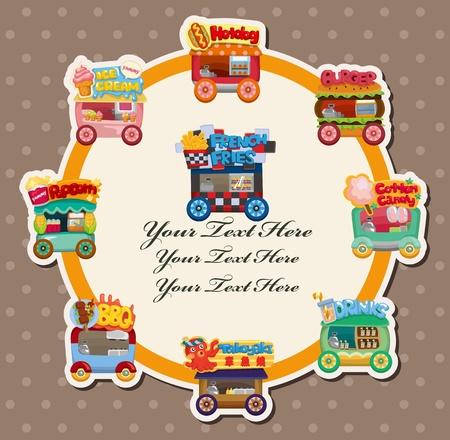 carretto gelati: Carta di cartone animato mercato negozio auto  Vettoriali