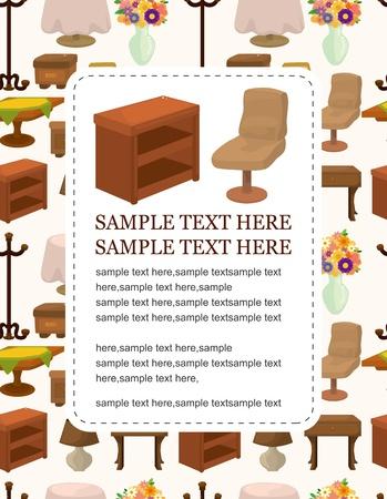 cute cartoon furniture card Stock Vector - 10800310