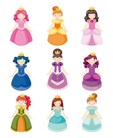 cartoon beautiful princess icons set  Vector