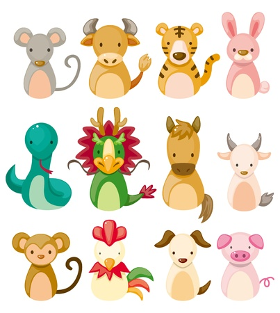 zodiaque chinois: 12 icon set animal, animal du zodiaque chinois,