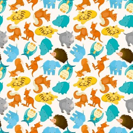 seamless cartoon animal pattern Stock Vector - 10800324
