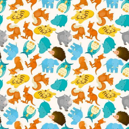 rhinoceros: seamless cartoon animal pattern