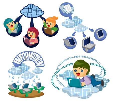 Vector Icons for Cloud network Stock Vector - 10800328