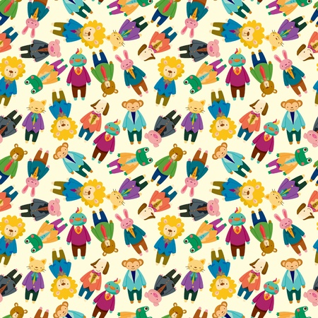 cartoon animal office worker seamless pattern Vector