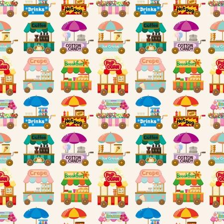 popcorn: cartone animato mercato negozio auto seamless pattern