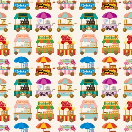 car garden: cartoon market store car seamless pattern