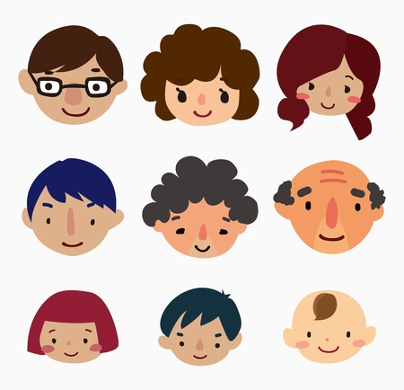 cartoon family face icons Illustration