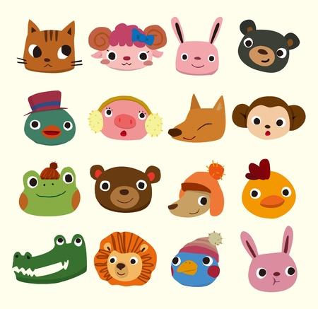 cartoon animal head icons 일러스트