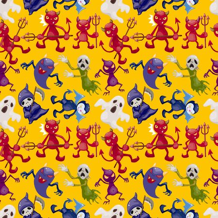 cartoon halloween ghost seamless pattern Vector