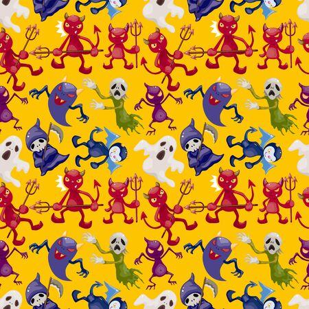 dragon fruit: cartoon halloween ghost seamless pattern