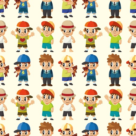 cartoon kid seamless pattern  Vector