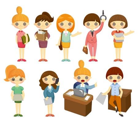 ropa trabajo: conjunto de iconos de caricatura Linda Oficina mujer trabajadora